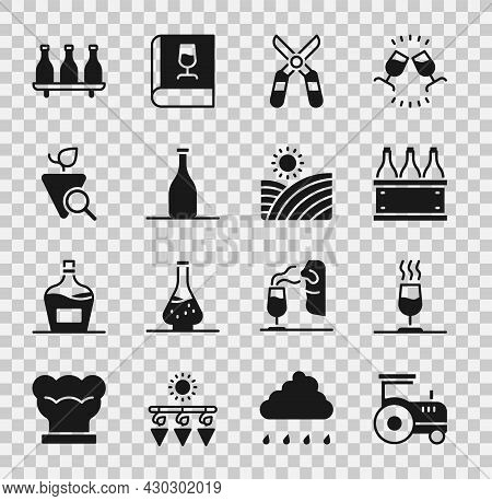 Set Tractor, Wine Tasting, Degustation, Bottles Of Wine Box, Gardening Scissors, Grapes, And Vineyar