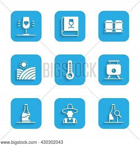 Set Meteorology Thermometer, Farmer In Hat, Bottle Of Wine, Fermentation Grapes, Vineyard, Wooden Ba