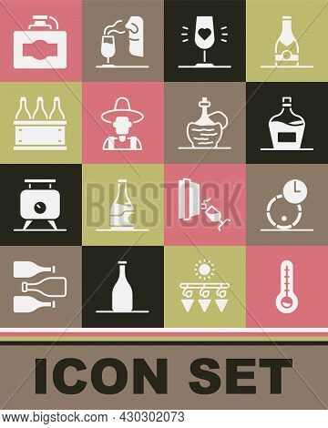 Set Meteorology Thermometer, Wooden Barrel For Wine, Old Bottle Of, Wine Glass, Farmer Hat, Bottles