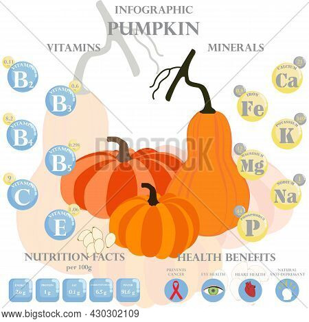 Infographic About Nutrients In Pumpkin. Vector Illustration Of Pumpkin, Vitamins, Vegetables, Health