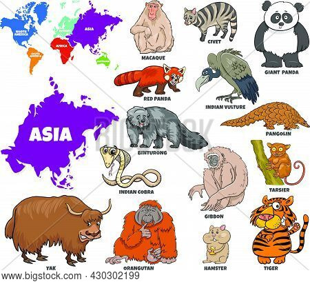 Educational Cartoon Illustration Of Asian Animal Species Set And World Map With Continents Shapes