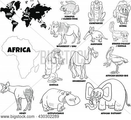 Black And White Educational Cartoon Illustration Of African Animal Species Set And World Map With Co