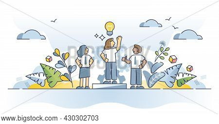 Initiative As Innovative And Creative Idea Thinking Skill Outline Concept. Find Solution With Indivi