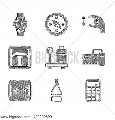 Set Scale With Suitcase, Drawing Compass, Calculator, Measuring Instrument, Area Measurement, Bathro