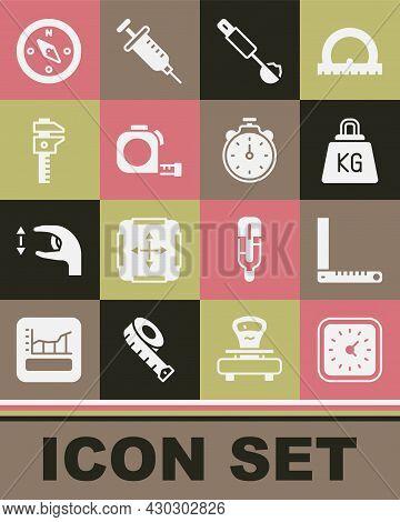 Set Clock, Corner Ruler, Weight, Measuring Spoon, Roulette Construction, Calliper Caliper And Scale,