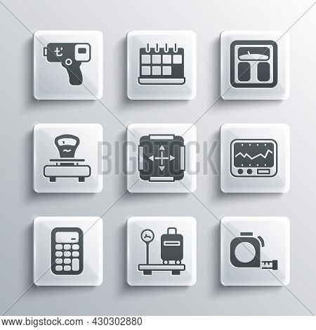 Set Scale With Suitcase, Roulette Construction, Measuring Instrument, Area Measurement, Calculator,