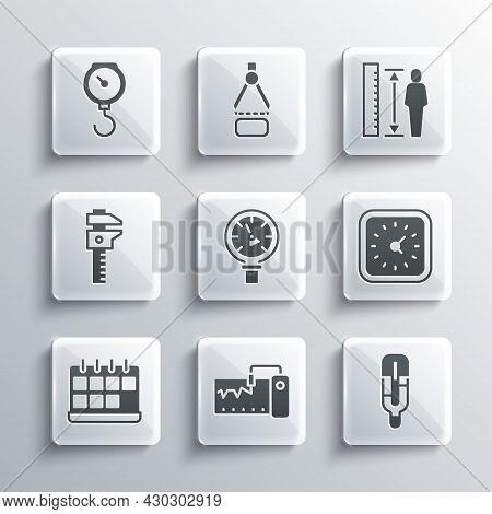 Set Measuring Instrument, Medical Thermometer, Clock, Pressure Water, Calendar, Calliper Or Caliper