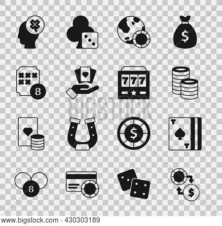 Set Casino Chips Exchange On Money, Deck Of Playing Cards, Hand Holding, Lottery Ball Bingo, Slot Ma