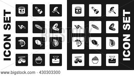 Set Served Fish On A Plate, Fish Steak, Eel, Canned, Mussel, Soy Sauce Bottle, And Shrimp Icon. Vect