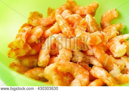 Raw Prawn Of Shrimp Meat Peeled Off Without Shells Skin. Seafood, Ocean Food.