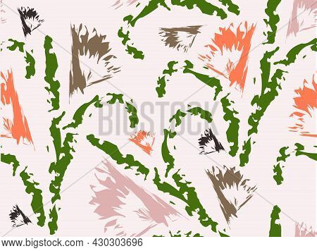 Seamless Floral Design Abstract Background. For Fabrics, Dress Material Upholstery Textile And Wall