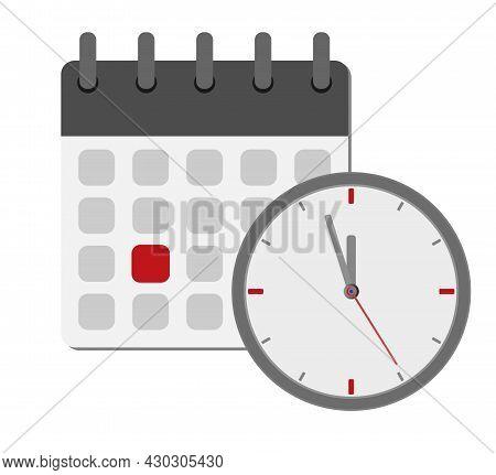 Calendar And Clock Symbol, Deadline Concept, Vector Illustration
