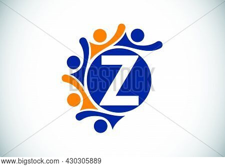 Initial Z Monogram Alphabet With Connecting People. Team, Cooperation Logo Sign Symbol. Font Emblem.