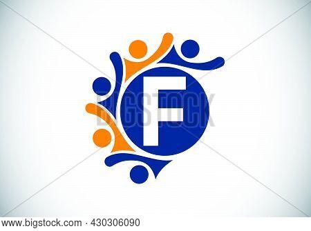 Initial F Monogram Alphabet With Connecting People. Team, Cooperation Logo Sign Symbol. Font Emblem.