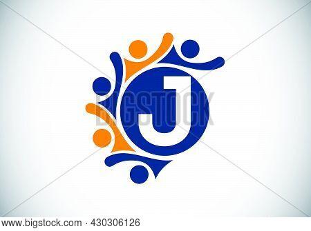 Initial J Monogram Alphabet With Connecting People. Team, Cooperation Logo Sign Symbol. Font Emblem.