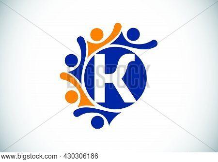 Initial K Monogram Alphabet With Connecting People. Team, Cooperation Logo Sign Symbol. Font Emblem.