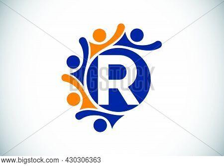 Initial R Monogram Alphabet With Connecting People. Team, Cooperation Logo Sign Symbol. Font Emblem.