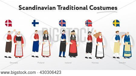 Scandinavian Man And Woman In Traditional Costumes. Cartoon Characters. Vector Flat Illustrations. C