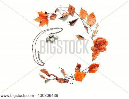 Autumn background - dry autumn leaves and old bronze clock in form of the owl on the white background. Autumn still life with space for text, autumn composition, autumn still life, autumn border, autumn background, autumn frame