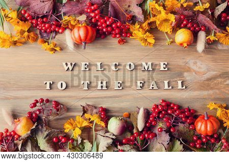 Autumn background with Welcome to the fall letters and autumn seasonal berries, pumpkins and autumn flowers on the wooden background. Autumn concept,autumn still life, autumn composition, autumn concept, autumn design, autumn style, autumn frame