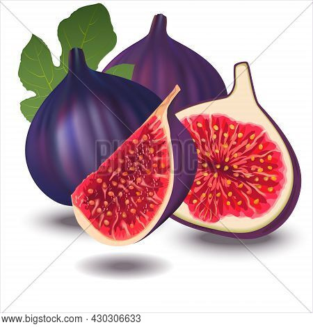 Ripe Delicious Juicy Figs Whole, Cut In Half And Quarter. Vector Illustration Of  Flying Fresh Figs