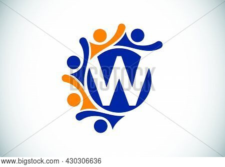Initial W Monogram Alphabet With Connecting People. Team, Cooperation Logo Sign Symbol. Font Emblem.