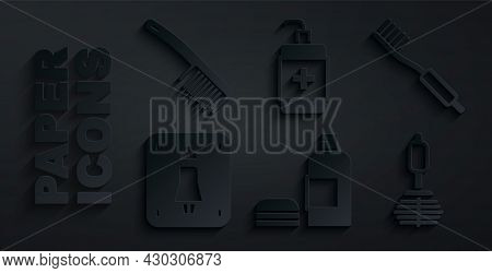 Set Bottle Of Shampoo, Toothbrush, Female Toilet, Toilet, Hand Sanitizer Bottle And Hairbrush Icon.