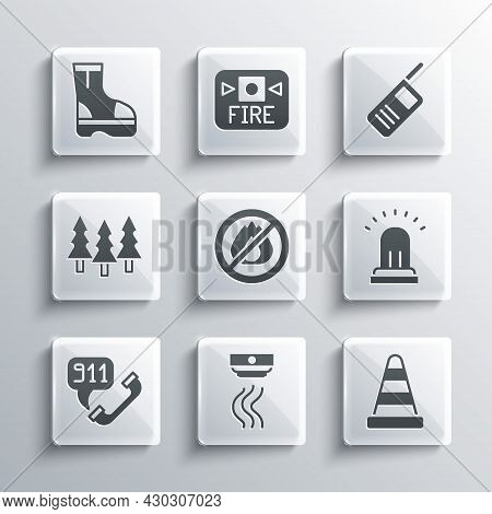 Set Smoke Alarm System, Traffic Cone, Ringing Bell, No Fire, Telephone Call 911, Forest, Fire Boots