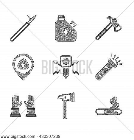 Set Electricity Spark, Firefighter Axe, Cigarette, Flashlight, Gloves, Location With Fire Flame, And