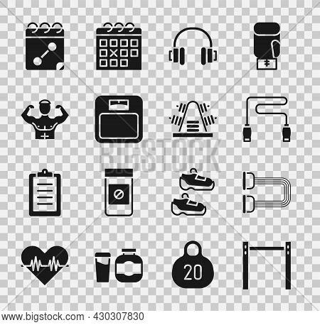 Set Horizontal Bar, Chest Expander, Jump Rope, Headphones, Bathroom Scales, Bodybuilder Muscle, Cale