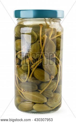 Pickled Capers In A Jar Close-up On A White Background. Isolated