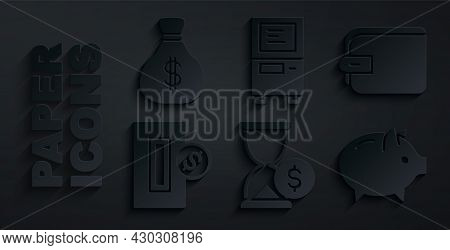 Set Hourglass With Dollar, Wallet, Inserting Coin, Piggy Bank, Atm And Money Bag Icon. Vector