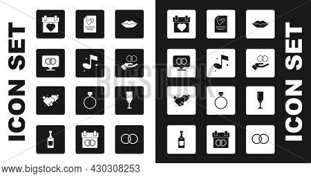 Set Smiling Lips, Music Note, Wedding Rings, Calendar, Greeting Card, Glass Of Champagne And Two Lin