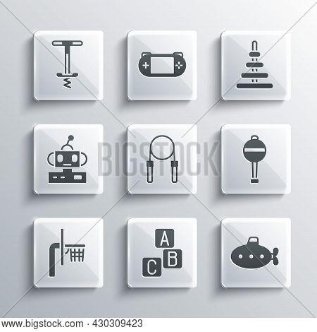 Set Abc Blocks, Submarine Toy, Rattle Baby, Jump Rope, Basketball Backboard, Robot, Pogo Stick Jumpi