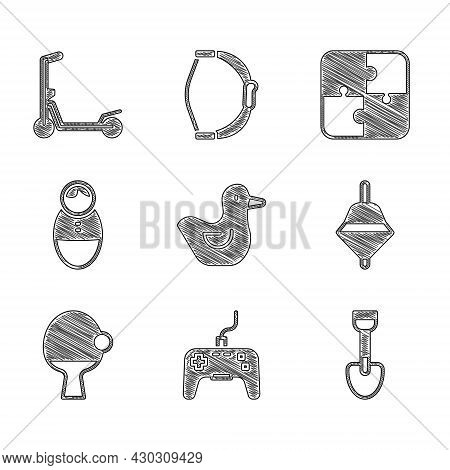 Set Rubber Duck, Gamepad, Shovel Toy, Whirligig, Racket And Ball, Tumbler Doll, Puzzle Pieces And Sc