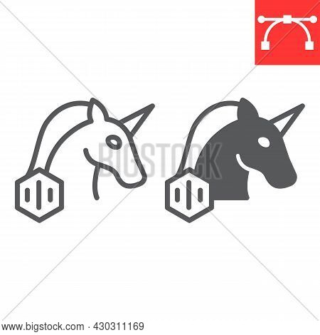 Unicorn With Nft Line And Glyph Icon, Unique Token And Non Fungible Token, Unicorn Vector Icon, Vect