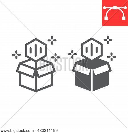 Open Cardboard Box With Nft Line And Glyph Icon, Unique Token And Blockchain, Non Fungible Token Vec