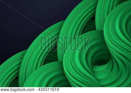 Abstract Green Wavy Curved Forms On Dark Blue Background. Twisted Shapes. Volumetric Digital Artwork