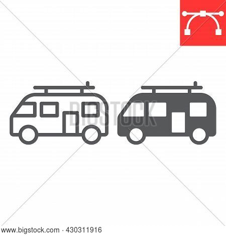 Surfer Van Line And Glyph Icon, Vehicle And Beach, Summer Van Vector Icon, Vector Graphics, Editable