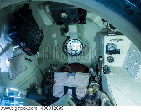 Shorsheli, Russia - August, 09 2021:  Interior Of Descent Vehicle Soyuz Tma-1 Spacecraft In Museum O