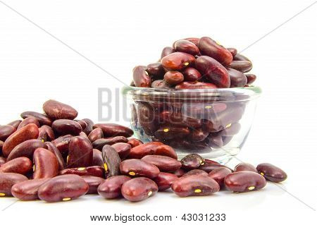 Bowl With Haricot Bean Isolated On White Background.
