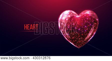 Red heart wireframe low poly style. Abstract modern 3d vector illustration on dark background.