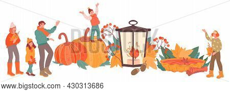Autumn Background With Happy Family Among Leaves, Seasonal Harvest And Pumpkins. Banner Backdrop For
