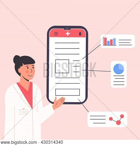 Medical Scientist With Diagrams And Molecule. Male Therapist In Gown Gives Diagnosis. Doctor In Whit
