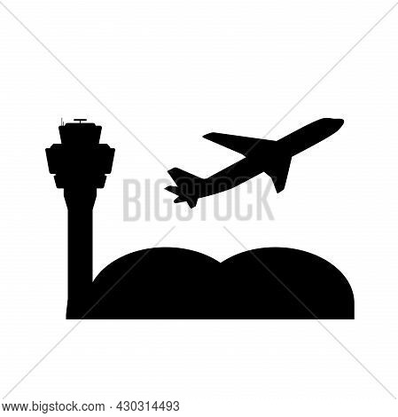 Airport Symbol With Air Traffic Control Tower And Plane Taking Off, Vector Illustration