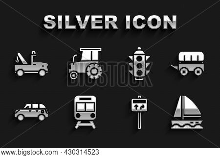 Set Train And Railway, Wild West Covered Wagon, Yacht Sailboat, Road Traffic Signpost, Hatchback Car