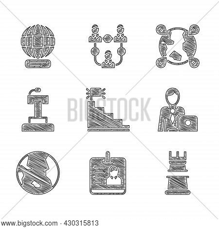 Set Stair With Finish Flag, Identification Badge, Business Strategy, Businessman, Earth Globe, Stage