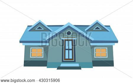 Little Cartoon House With Glowing Windows. Night Twilight. Cozy Rustic Dwelling In A Traditional Eur