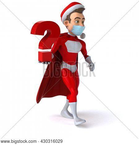 Fun 3D illustration of a cartoon Santa Claus with a mask
