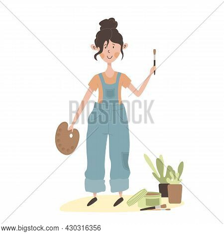 Cute Cartoon Flat Girl Artist. Young White Woman In Blue Overalls. Creative Person Holds Palette For
